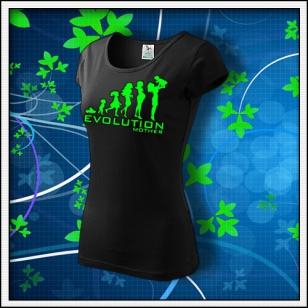 Evolution Mother - dámske tričko so zelenou neónovou potlačou