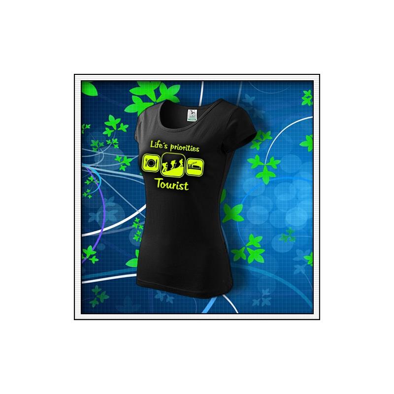 Life´s priorities - Tourist - dámske tričko so žltou neónovou potlačou