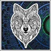 Antistresová omalovánka vlk na tričku. Antistresové tričko mandala vlk