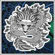 Kreatívna antistresová omaľovánka drak na tričku. Tričko mandala draka