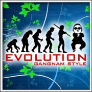 Vtipné tričká Evolution Gangnam Style