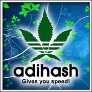 Vtipné tričko Cannabis alias paródia Adidas - Adihash - Gives you speed - marihuana