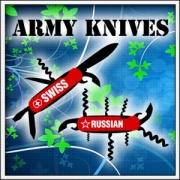 Vtipné ruské tričko - Army knives Swiss and Russian - Vojenské nože: švajčiarsky a ruský nôž